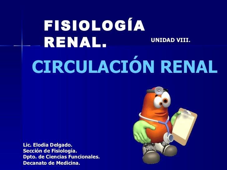 FISIOLOGÍA RENAL. UNIDAD VIII. CIRCULACIÓN RENAL Lic. Elodia Delgado. Sección de Fisiología. Dpto. de Ciencias Funcionales...