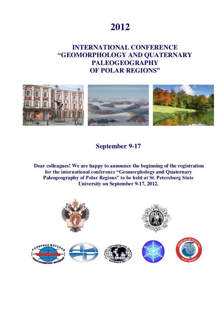"2012             INTERNATIONAL CONFERENCE          ""GEOMORPHOLOGY AND QUATERNARY                  PALEOGEOGRAPHY          ..."