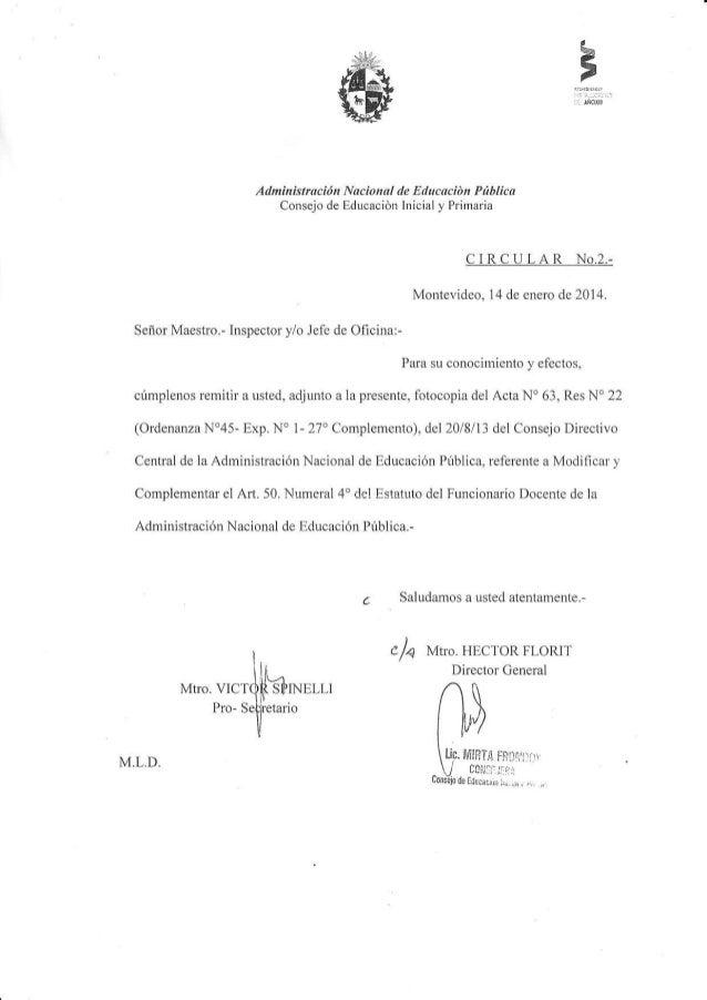 Adminhtftrción Nacional de Edacación Pública Consejo de fducación firicial ) Prirnariá CIRCULAR No.2.- Montevideo, 14 de e...