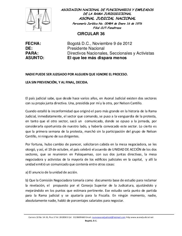 ASOCIACION NACIONAL DE FUNCIONARIOS Y EMPLEADOS                                            DE LA RAMA JURISDICCIONAL      ...