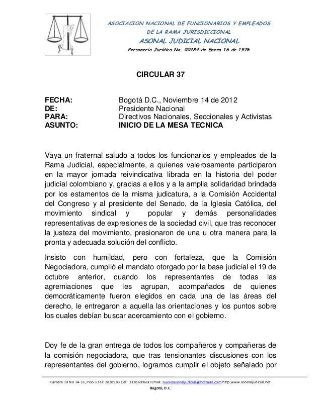 ASOCIACION NACIONAL DE FUNCIONARIOS Y EMPLEADOS                                                      DE LA RAMA JURISDICCI...