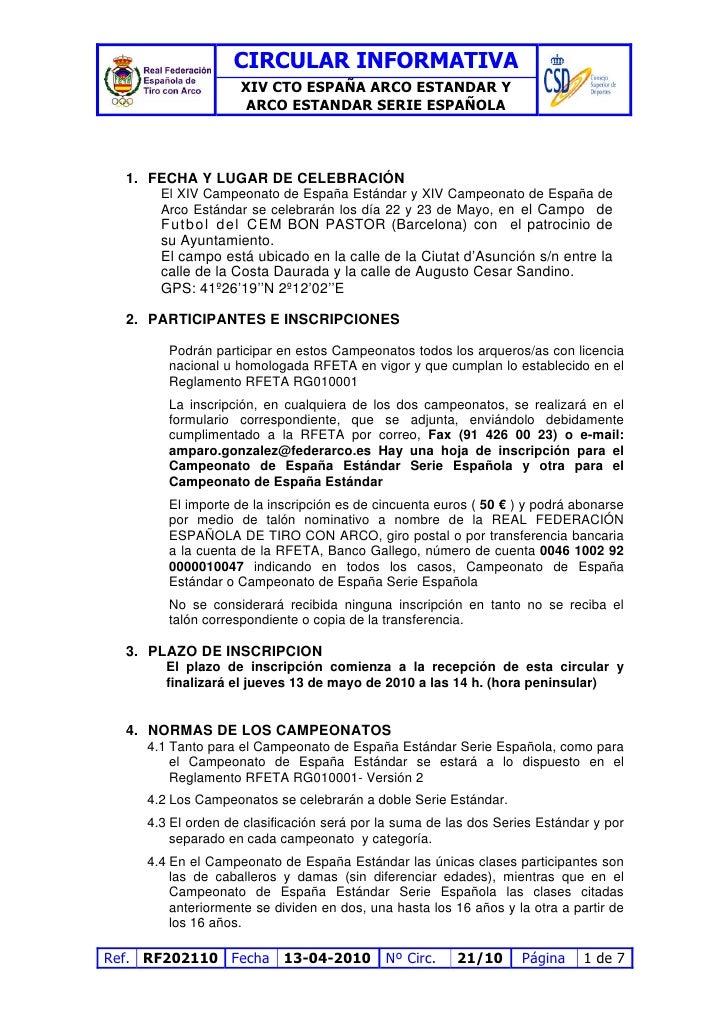 CIRCULAR INFORMATIVA                     XIV CTO ESPAÑA ARCO ESTANDAR Y                      ARCO ESTANDAR SERIE ESPAÑOLA ...