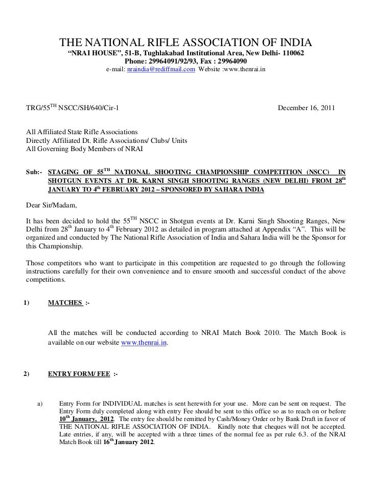 "THE NATIONAL RIFLE ASSOCIATION OF INDIA                ""NRAI HOUSE"", 51-B, Tughlakabad Institutional Area, New Delhi- 1100..."