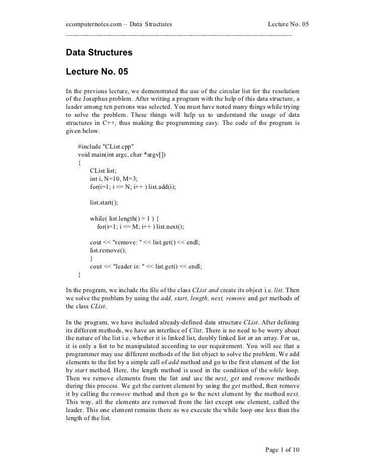 ecomputernotes.com Data Structures                          Lecture No. 05________________________________________________...