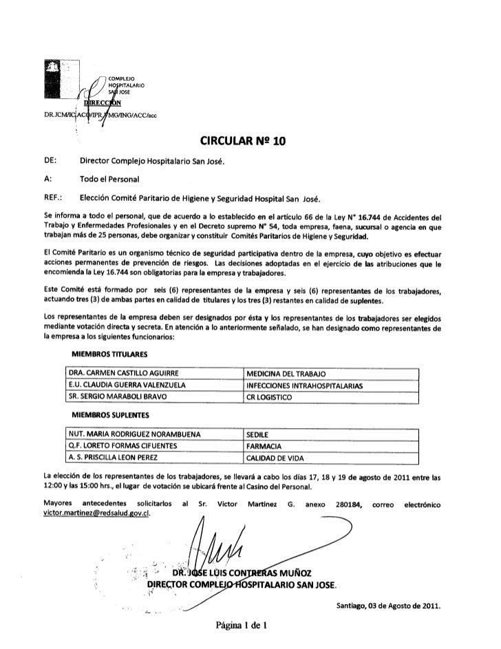 Circular n° 10  elección comité paritario