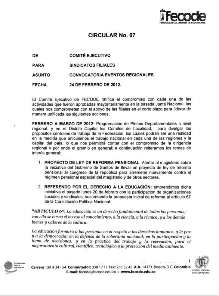 CIRCULAR No. 07                 PARA                 SINDICATOS FILIALES                 ASUNTO               CONVOCATORIA...