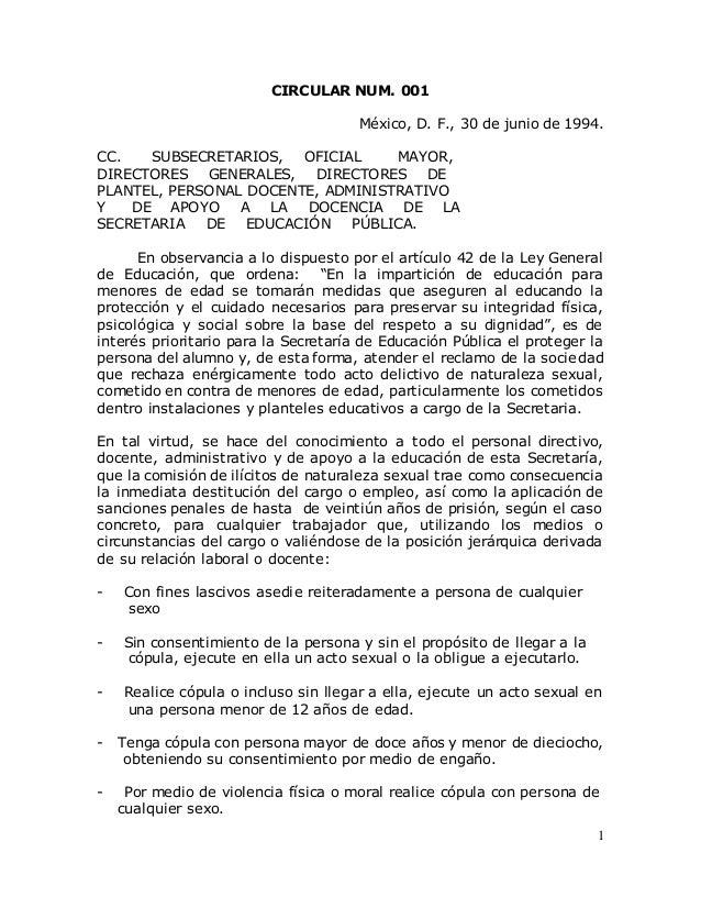 1 CIRCULAR NUM. 001 México, D. F., 30 de junio de 1994. CC. SUBSECRETARIOS, OFICIAL MAYOR, DIRECTORES GENERALES, DIRECTORE...