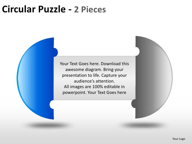 Circular puzzle 2 and 3 pieces powerpoint presentation templates