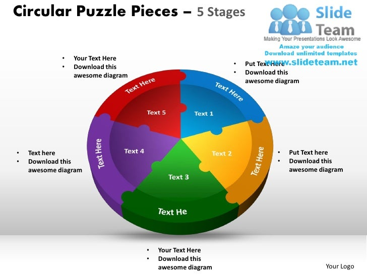 Circular puzzle pieces 5 stages powerpoint slides ppt templates