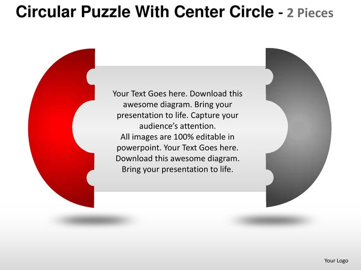 Circular puzzle with center 2 and 3 powerpoint presentation templates
