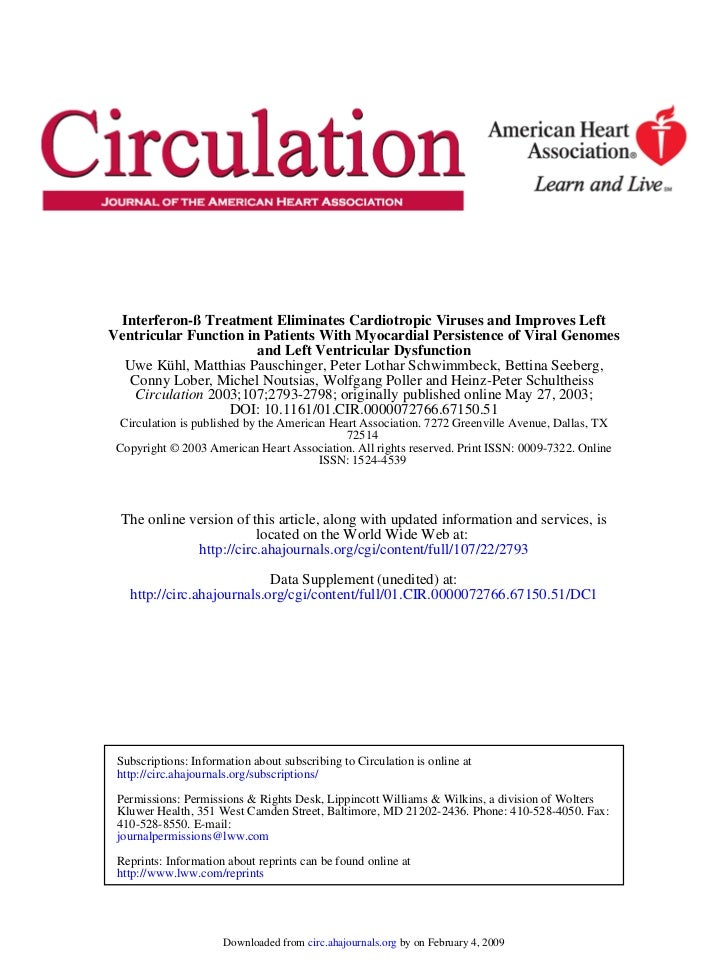 Interferon-ß Treatment Eliminates Cardiotropic Viruses and Improves Left Ventricular Function in Patients With Myocardial Persistence of Viral Genomes and Left Ventricular Dysfunction