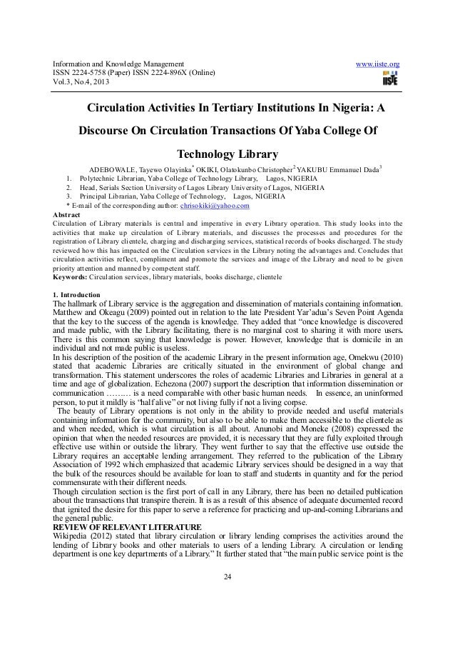 Circulation activities in tertiary institutions in nigeria