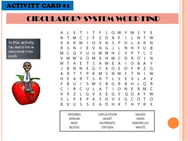 Circulatory System Word Search Worksheets