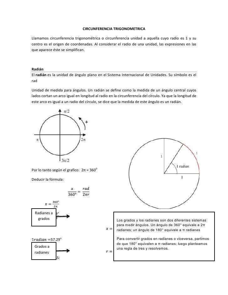 CIRCUNFERENCIA TRIGONOMETRICA<br />Llamamos circunferencia trigonométrica o circunferencia unidad a aquella cuyo radio es ...