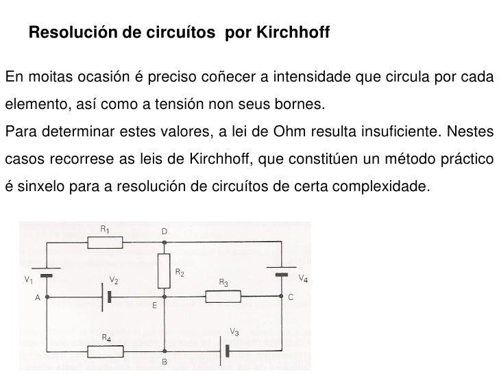 Resolución de circuítos por Kirchhoff  En moitas ocasión é preciso coñecer a intensidade que circula por cada elemento, as...