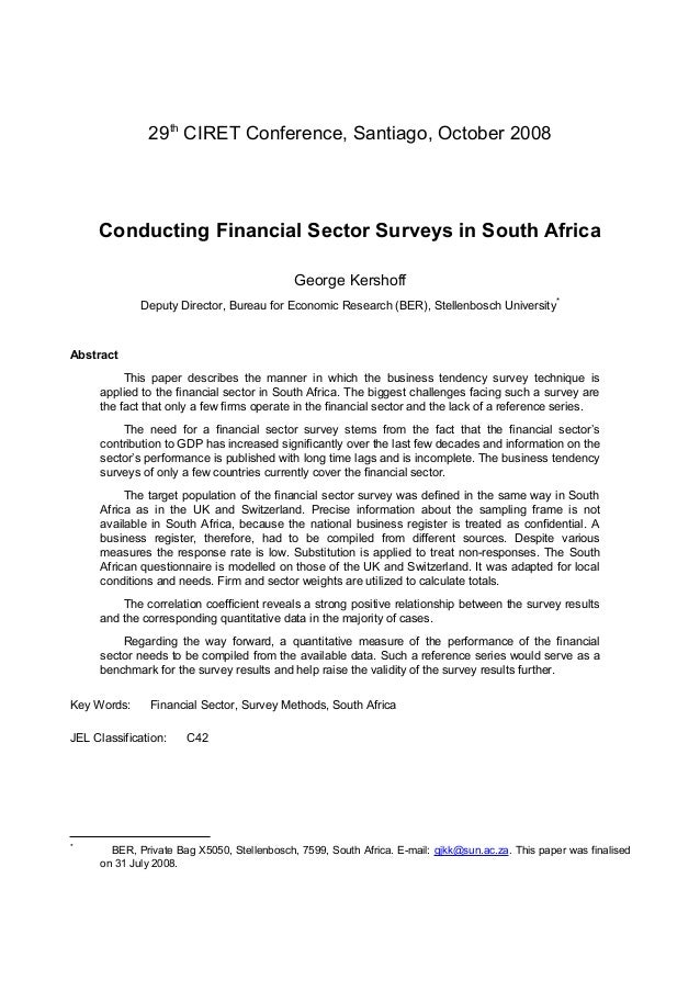29th CIRET Conference, Santiago, October 2008     Conducting Financial Sector Surveys in South Africa                     ...