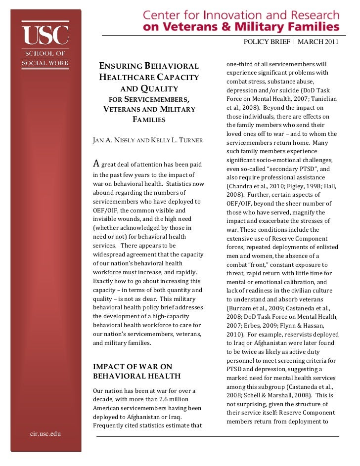 POLICY BRIEF | MARCH 2011                ENSURING BEHAVIORAL                       one-third of all servicemembers will   ...