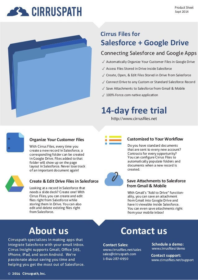 About us  Product Sheet  Salesforce + Google Drive  Connecting Salesforce and Google Apps  14-day free trial  http://www.c...