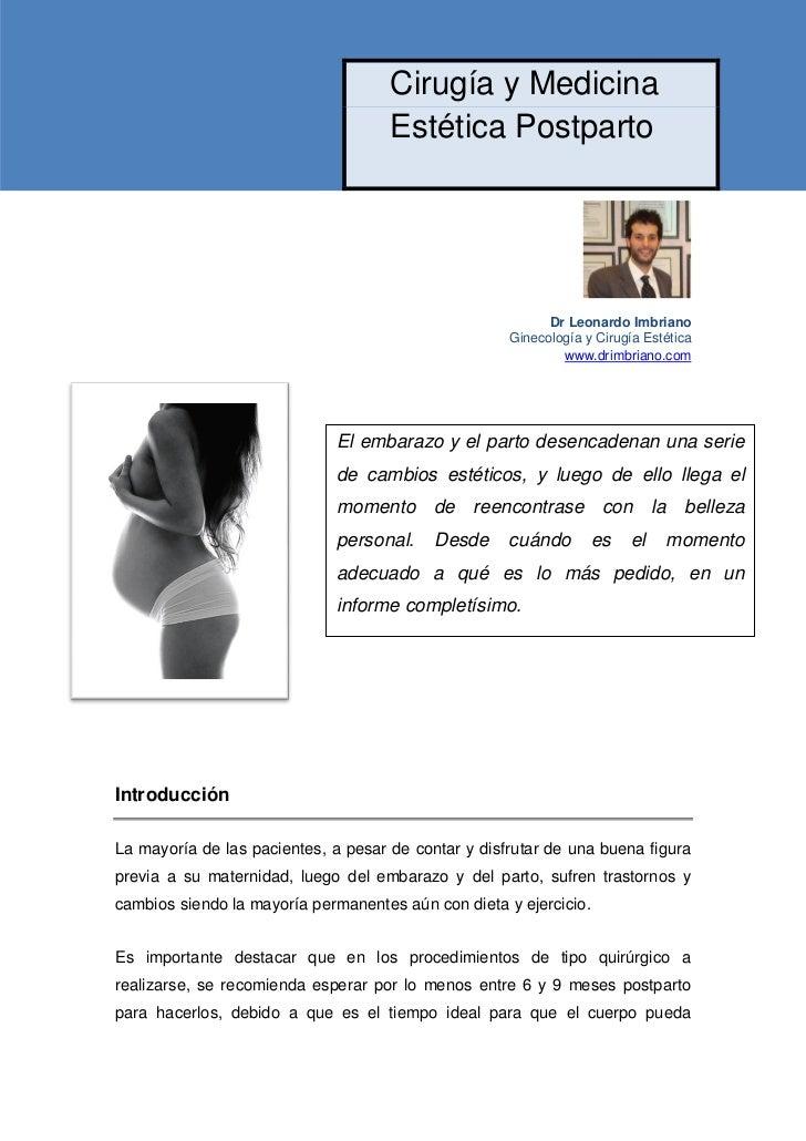 Cirugia y Medicina Estetica postparto y postembarazo