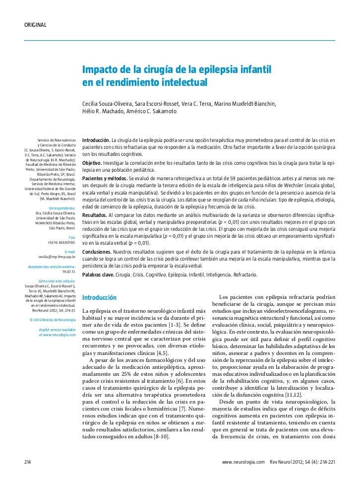 ORIGINAL                                          Impacto de la cirugía de la epilepsia infantil                          ...