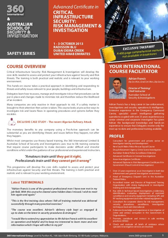 Advanced Certificate in Critical Infrastructure Security: Risk Management & Investigation