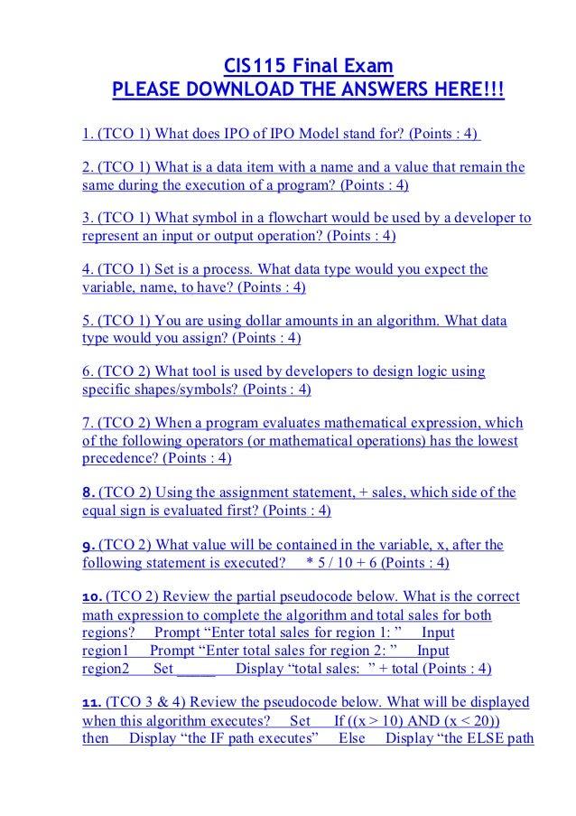 Cis115 final exam 1