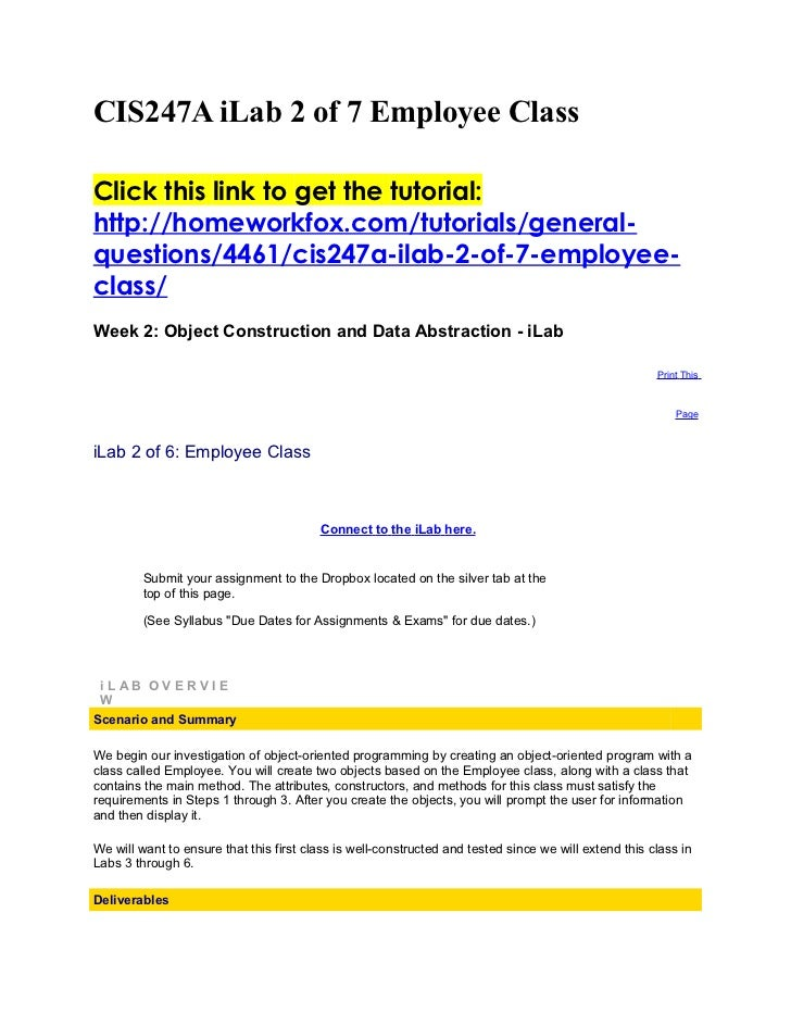CIS247A iLab 2 of 7 Employee ClassClick this link to get the tutorial:http://homeworkfox.com/tutorials/general-questions/4...
