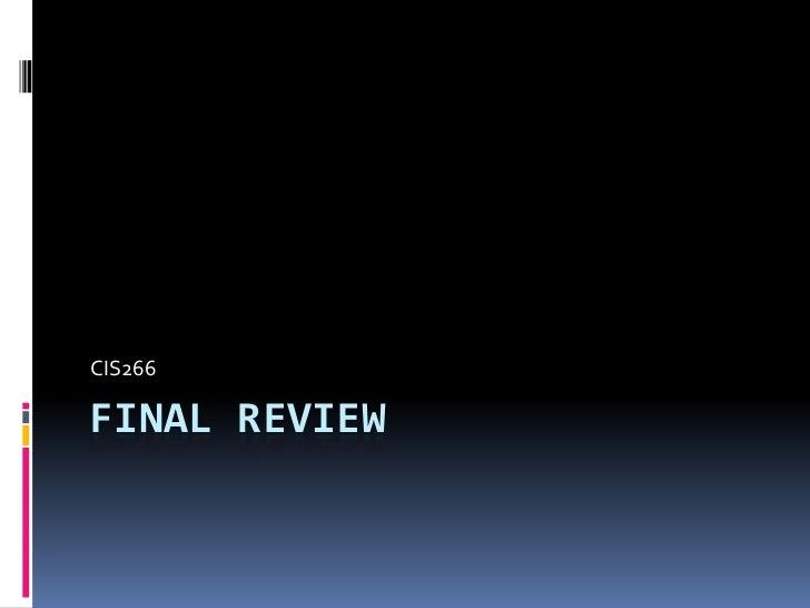 CIS266FINAL REVIEW