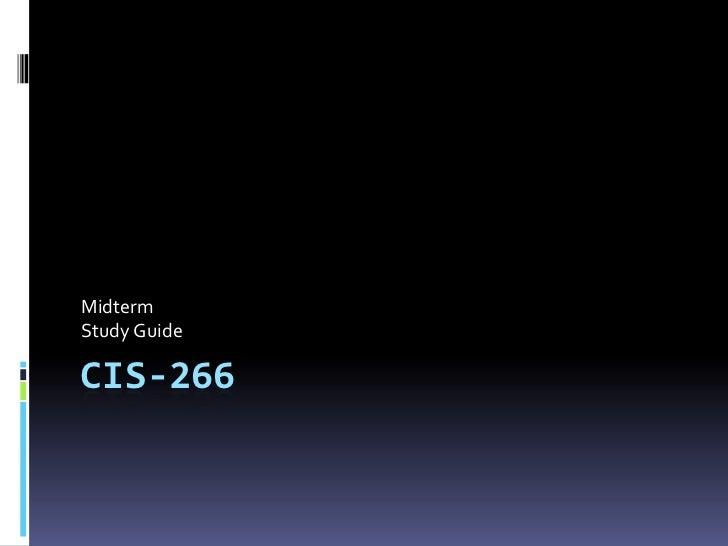 CIS-266 Midterm Study Guide