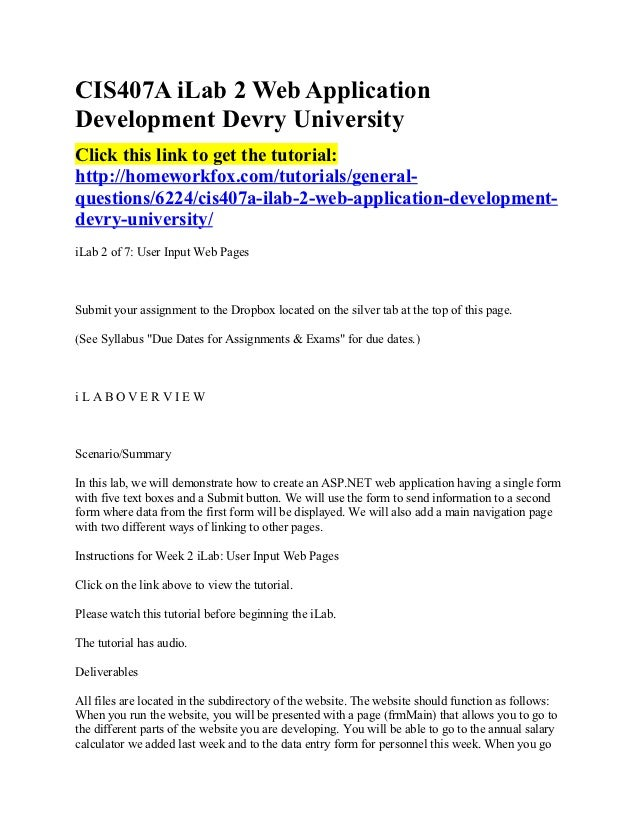 CIS407A iLab 2 Web ApplicationDevelopment Devry UniversityClick this link to get the tutorial:http://homeworkfox.com/tutor...