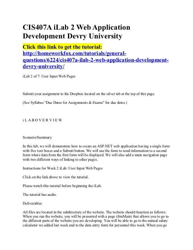 Cis407 a ilab 2 web application development devry university