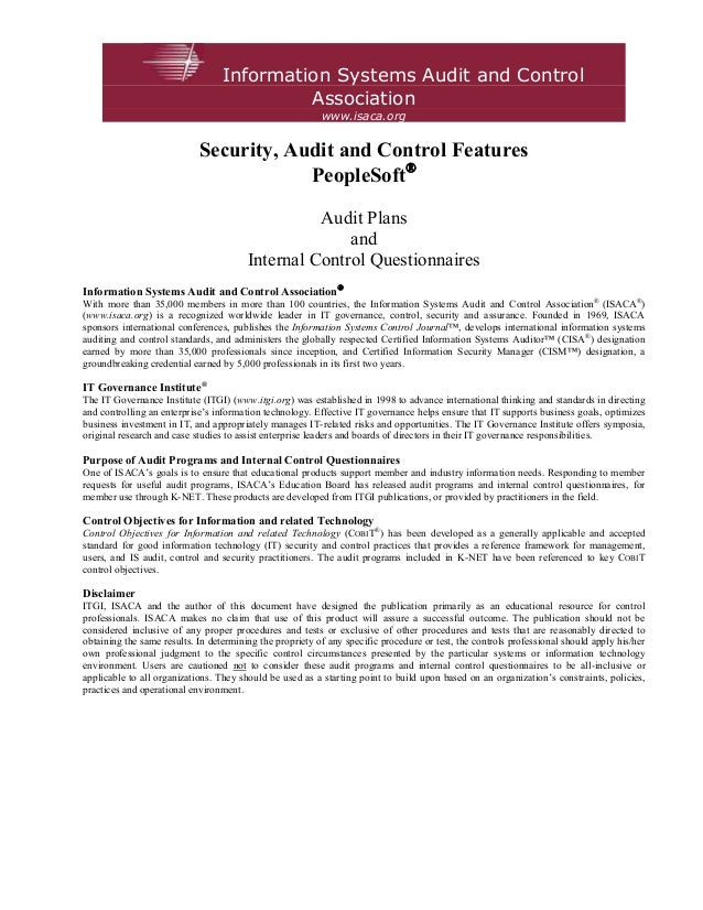 Information Systems Audit and Control                                           Association                               ...