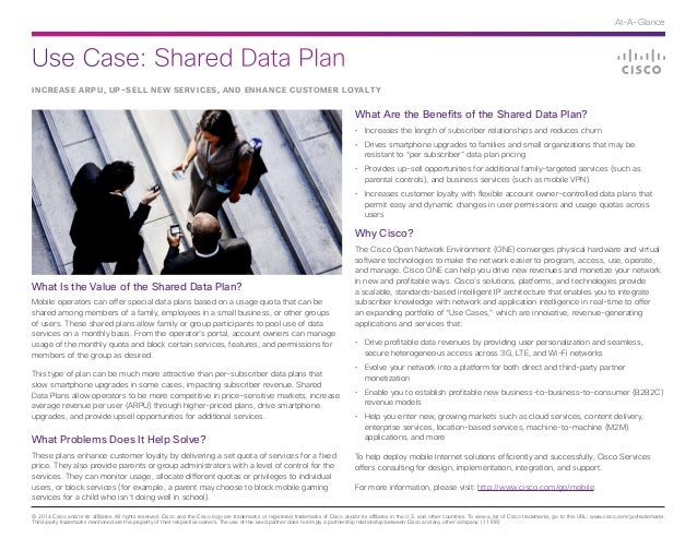 Use Case: Shared Data Plan © 2014 Cisco and/or its affiliates. All rights reserved. Cisco and the Cisco logo are trademark...