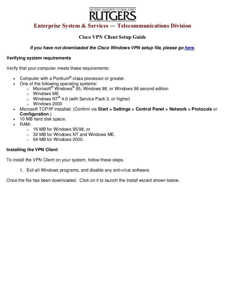 Enterprise System & Services ― Telecommunications Division                                     Cisco VPN Client Setup Guid...