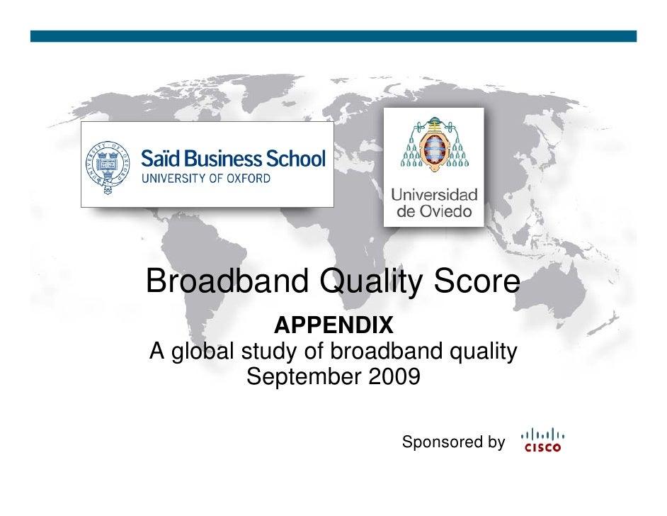 Global Broadband Quality Study Appendix