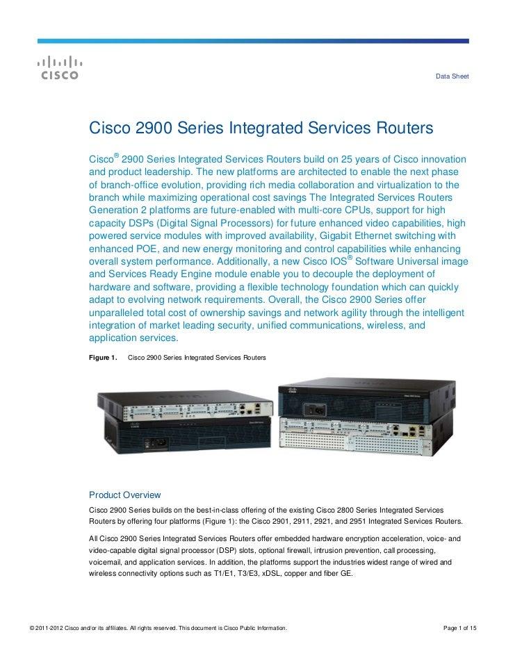 Service Router Cisco Cisco 2900 Series Router Data