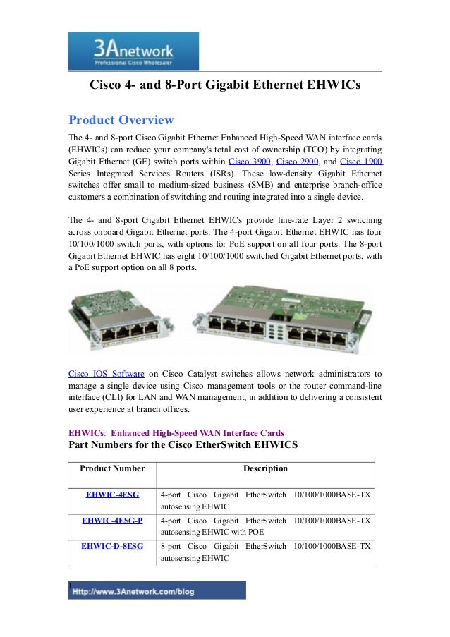 Cisco 4- and 8-Port Gigabit Ethernet EHWICs Product Overview The 4- and 8-port Cisco Gigabit Ethernet Enhanced High-Speed ...