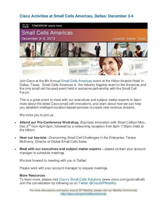 Cisco Activities at Small Cells Americas, Dallas: December 3-4