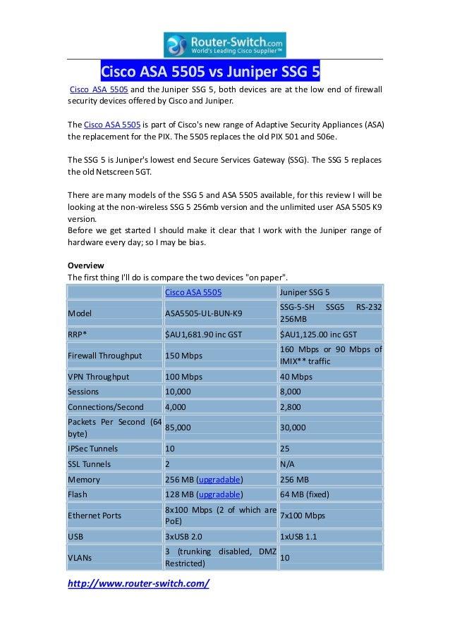 Cisco asa 5505 vs juniper ssg 5