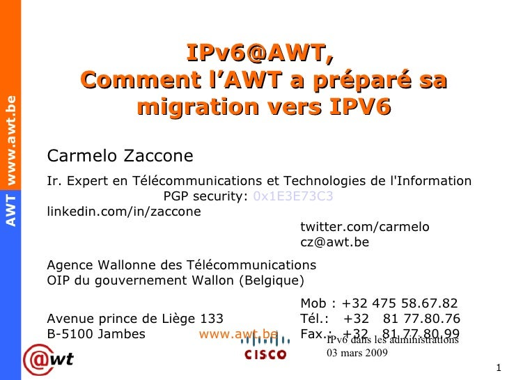 IPv6 within the wallon public sector, the AWT case V1