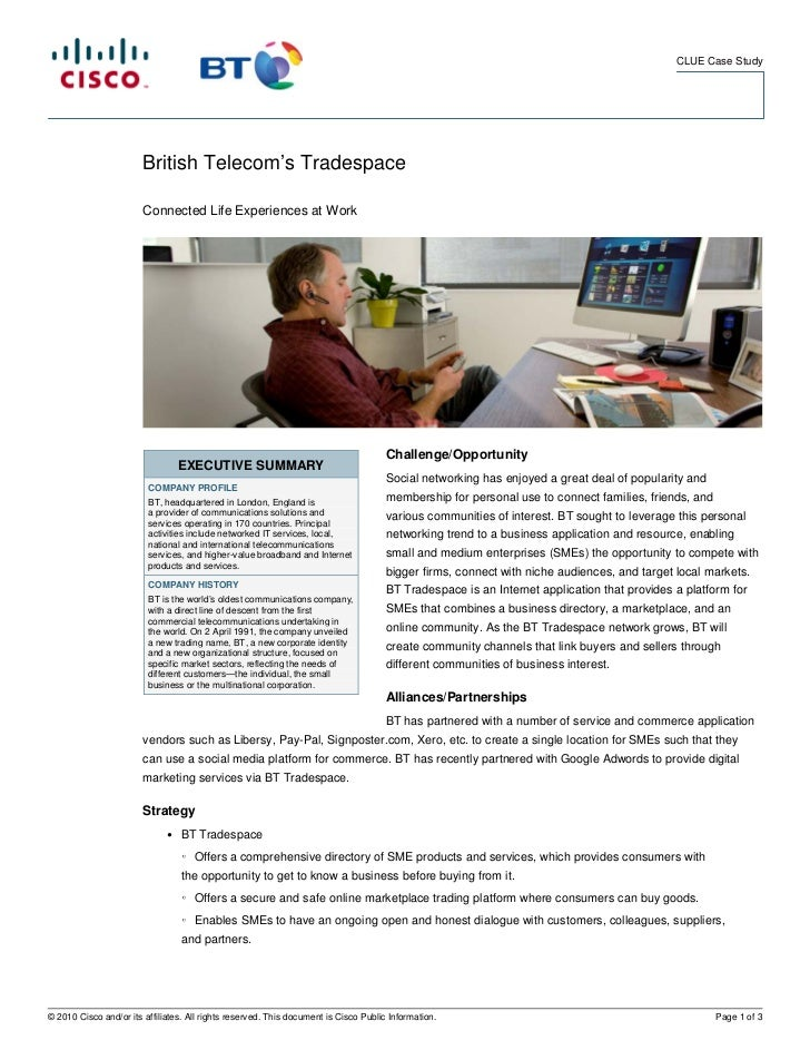 British Telecom's Tradespace - Connected Life Experiences at Work