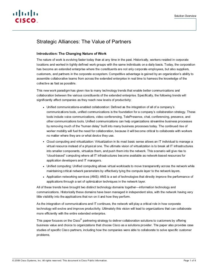 Solution Overview                       Strategic Alliances: The Value of Partners                       Introduction: The...