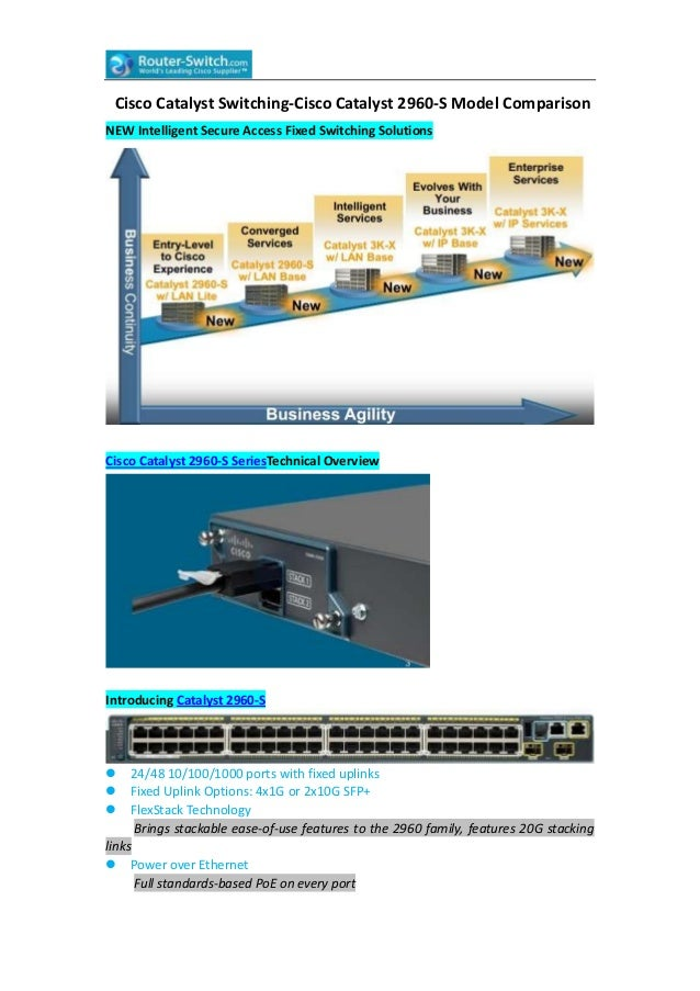 Cisco Catalyst Switching-Cisco Catalyst 2960-S Model Comparison NEW Intelligent Secure Access Fixed Switching Solutions  C...