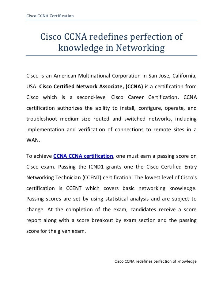 Cisco CCNA redefines perfection of knowledge in Networking