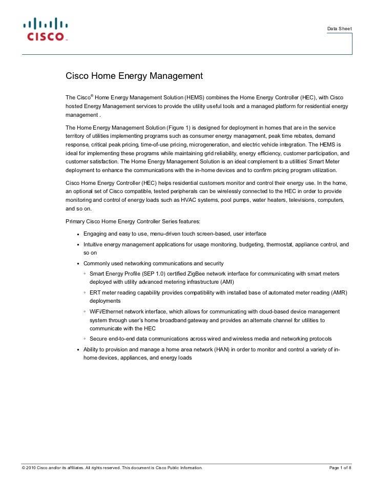 Data Sheet                        Cisco Home Energy Management                                     ®                      ...