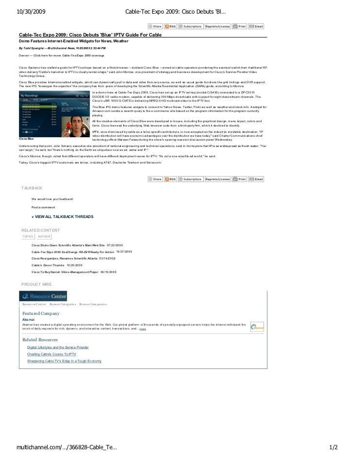 10/30/2009                                                                         Cable-Tec Expo 2009: Cisco Debuts 'Bl… ...