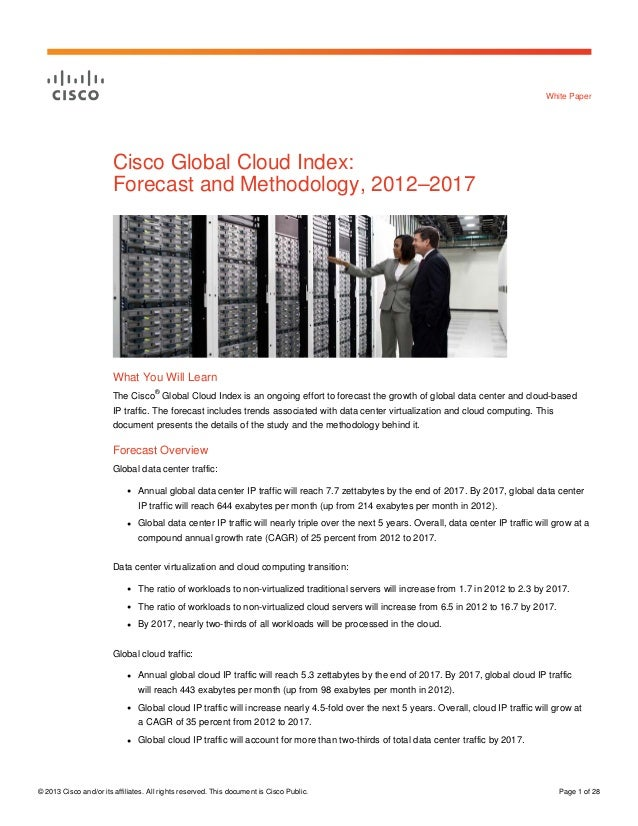 Cisco Global Cloud Index: Forecast and Methodology, 2012–2017