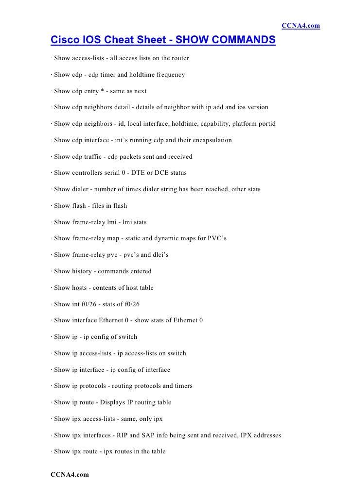 Cisco Ios Cheat Sheet   Show Commands