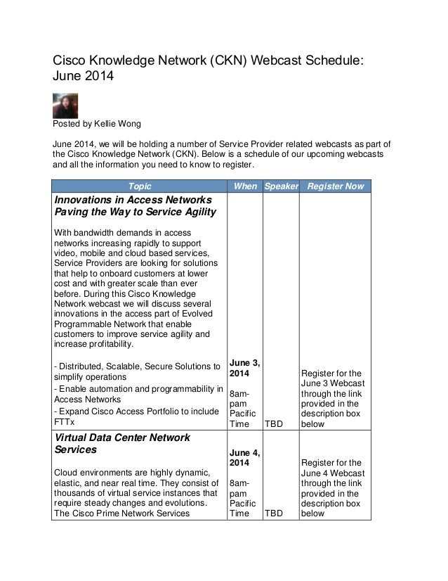Cisco Knowledge Network (CKN) Webcast Schedule: June 2014