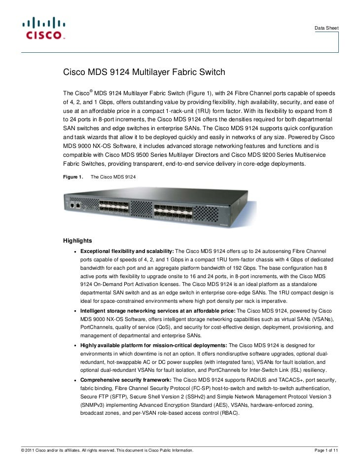 Cisco MDS 9124 Multilayer Fabric Switch